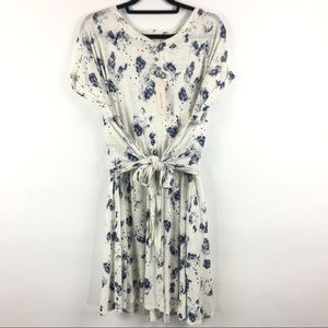 Rebecca Taylor 100% linen floral tie waist dress L